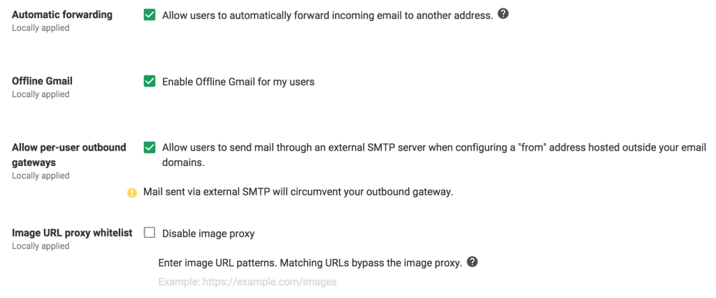 Google Apps - Gmail Settings - Advanced